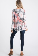 - Charcoal/Coral Floral V-Criss Cross Neck