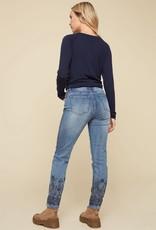 - Denim Embroidered Bottom Pant