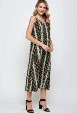 - Olive Snake Print Midi Tank Dress