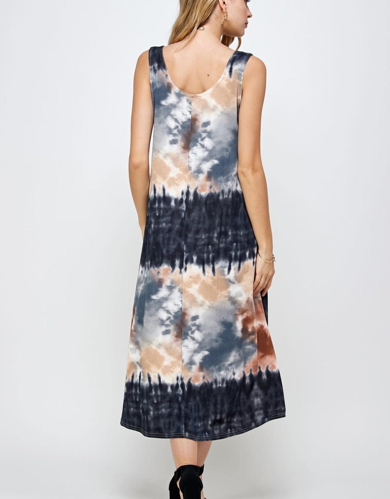 - Taupe Tie-Dye Midi Tank Dress