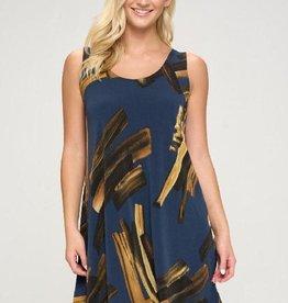 - Navy/Gold Print Tank Swing Dress