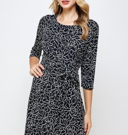 - Black/White Floral 3/4 Sleeve Dress w/Side Knot