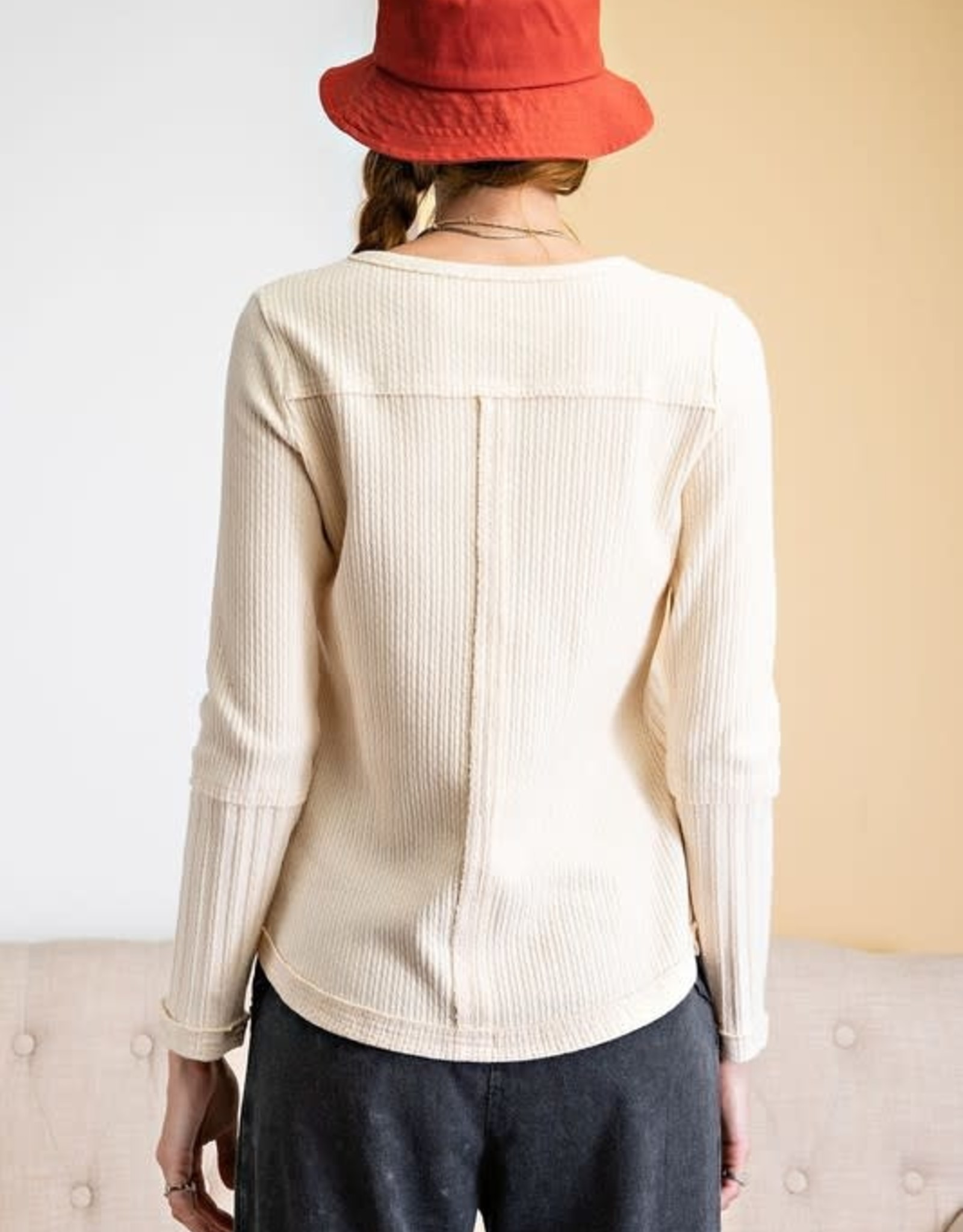 - Ivory Thermal Mix Pattern Long Sleeve Top