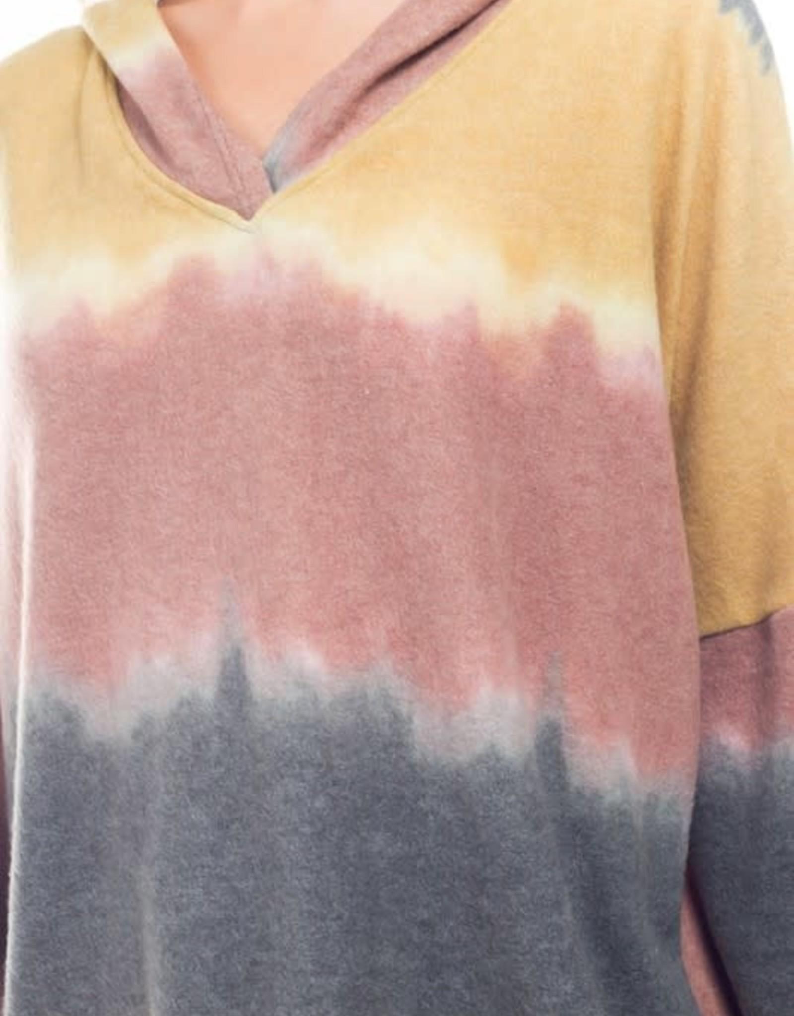 - Mustard Tie-Dye Hoodie w/V-Neck