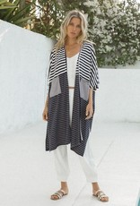 - Navy/Ivory Stripe Mix Knit Cardigan