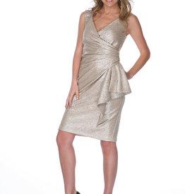 - Champagne Shimmer Dress w/Wrap Detail & Bling