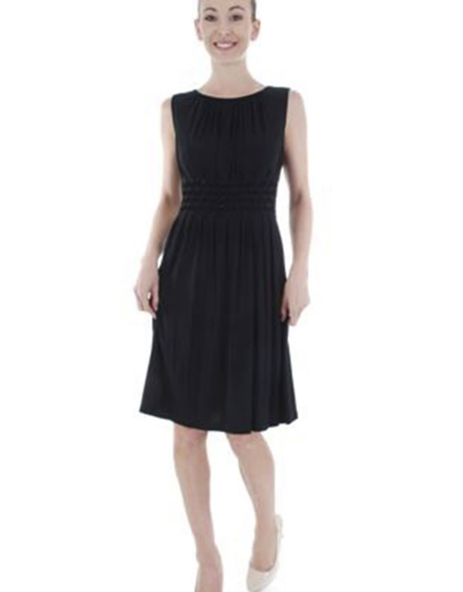 - Black Pleated Tank Dress w/Bling Waist