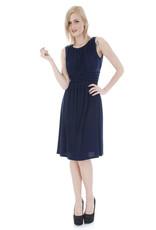 - Navy Pleated Tank Dress w/Bling Waist