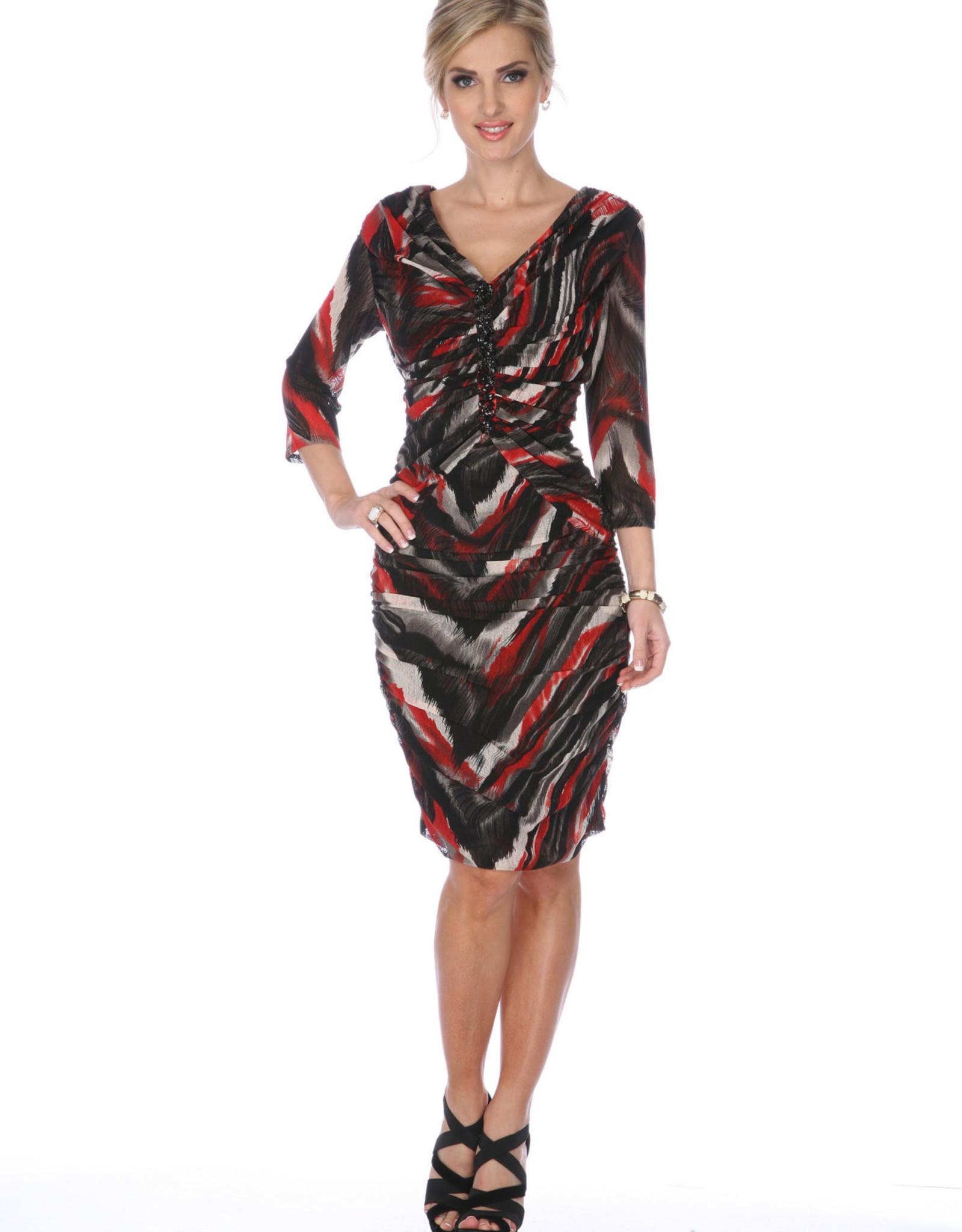 - Black/Red/Grey Print 3/4 Sleeve Dress w/Rouching