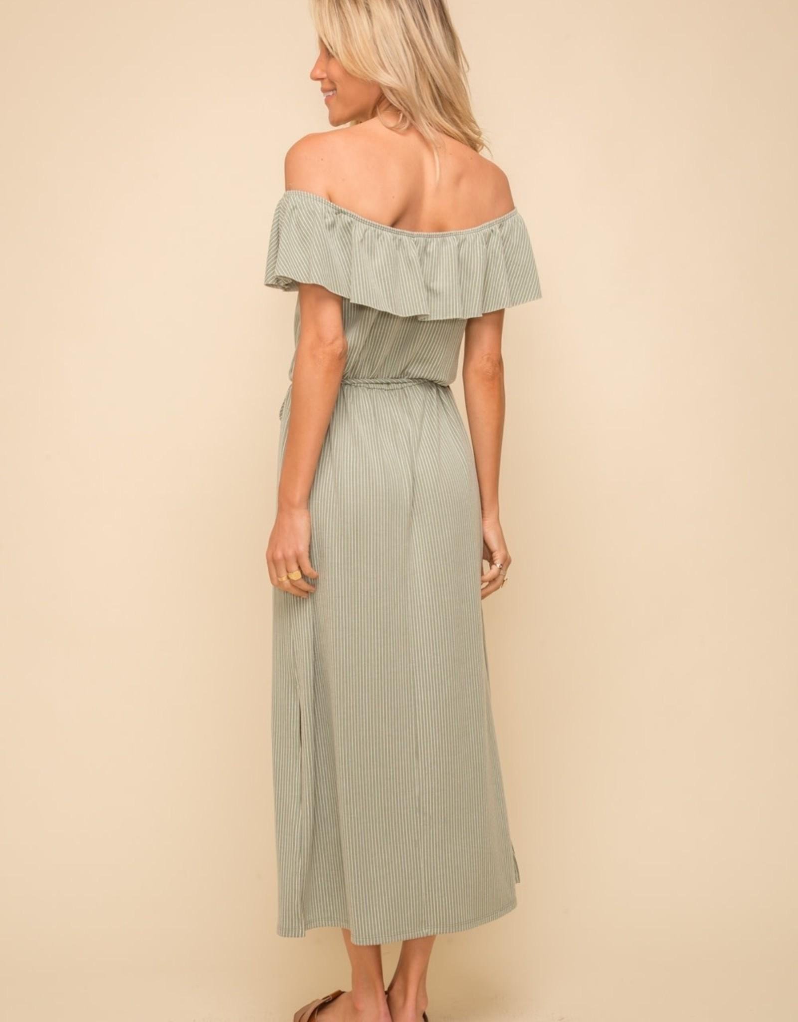 - Sage/White Stripe Double Knit Tie Waist Midi Dress