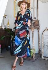 - Black Multi Kimono Wrap Dress Tie Waist w/ Pockets