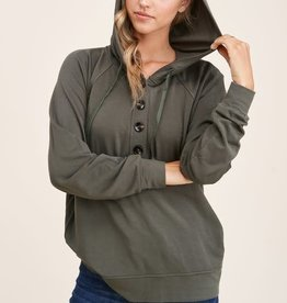 - Olive  Drawstring Long Sleeve  W/Button Knit Top