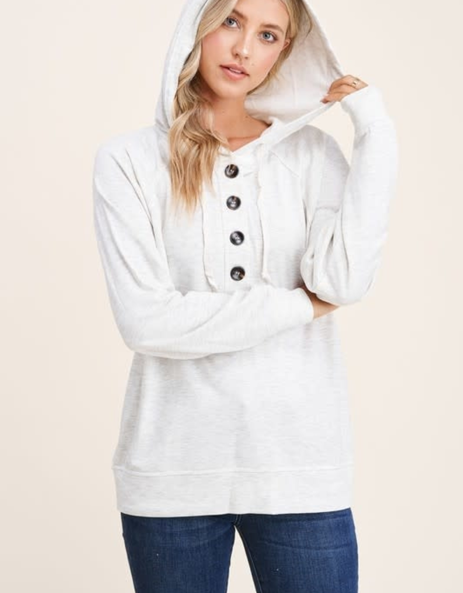 - Light Grey  Drawstring Long Sleeve  W/Button Knit Top