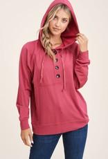 - Marsala  Drawstring Long Sleeve  W/Button Knit Top