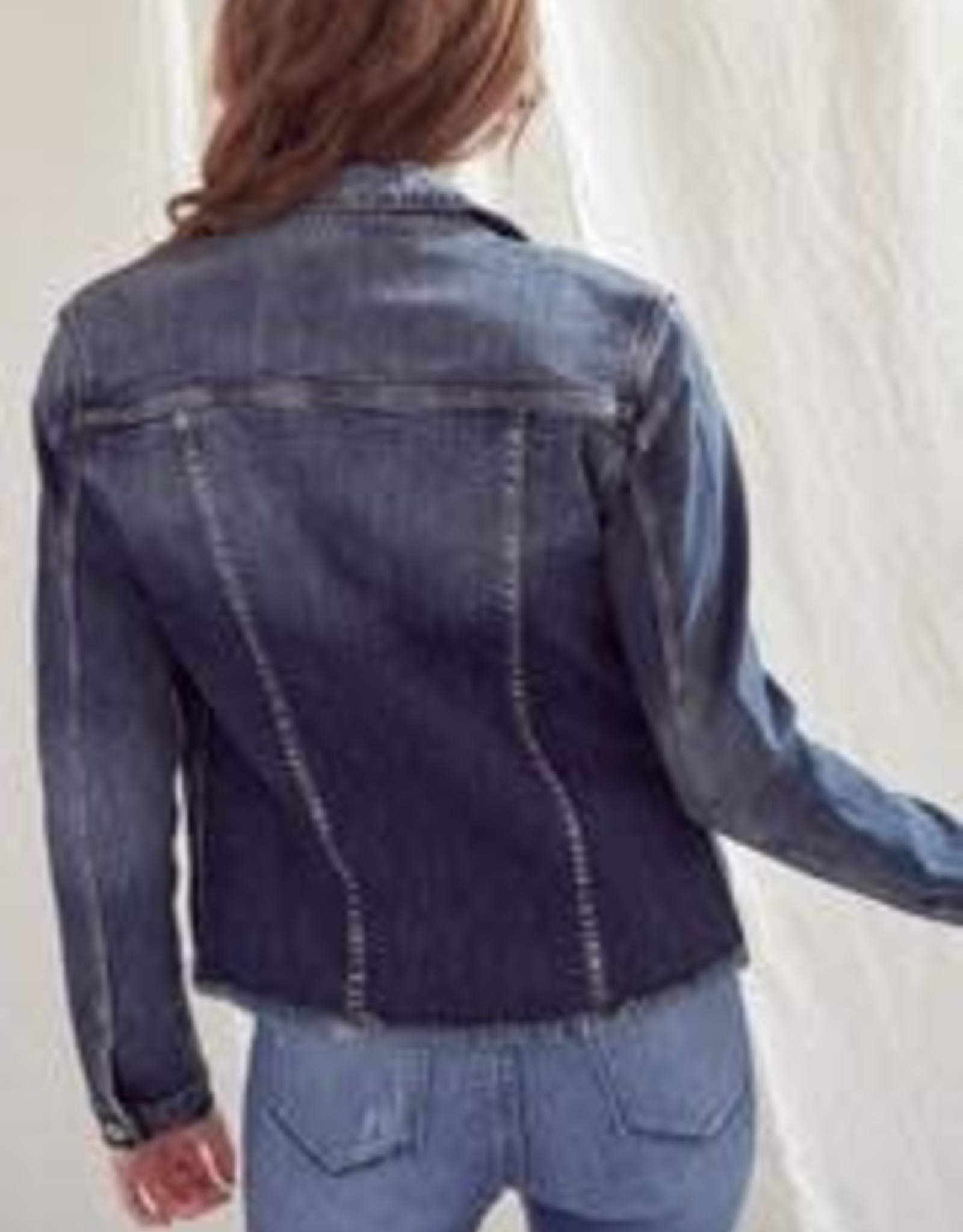 Kancan Medium Wash Distressed Denim Jacket w/Fray Hem