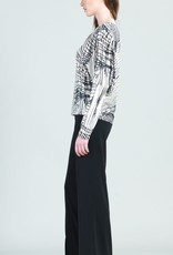 - Bone/Black Interlaced Lines Dolman Sleeve Top