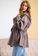 - Mocha Long Sleeve Washed Terry Jacket