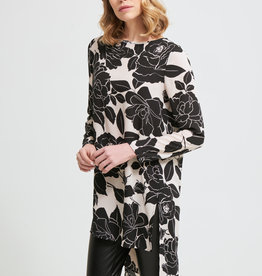 Joseph Ribkoff Ivory/Black Floral Print Long Sleeve Tunic