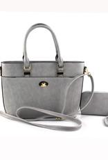 Light Gray Quilted Front Pocket 2-IN-1 Satchel Bag