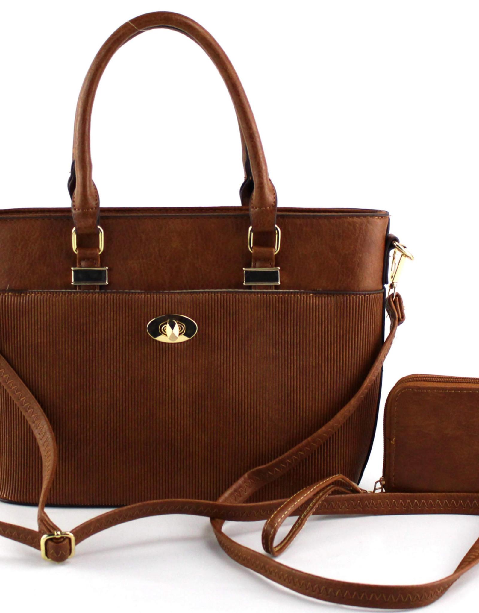 Brown Quilted Front Pocket 2-IN-1 Satchel Bag