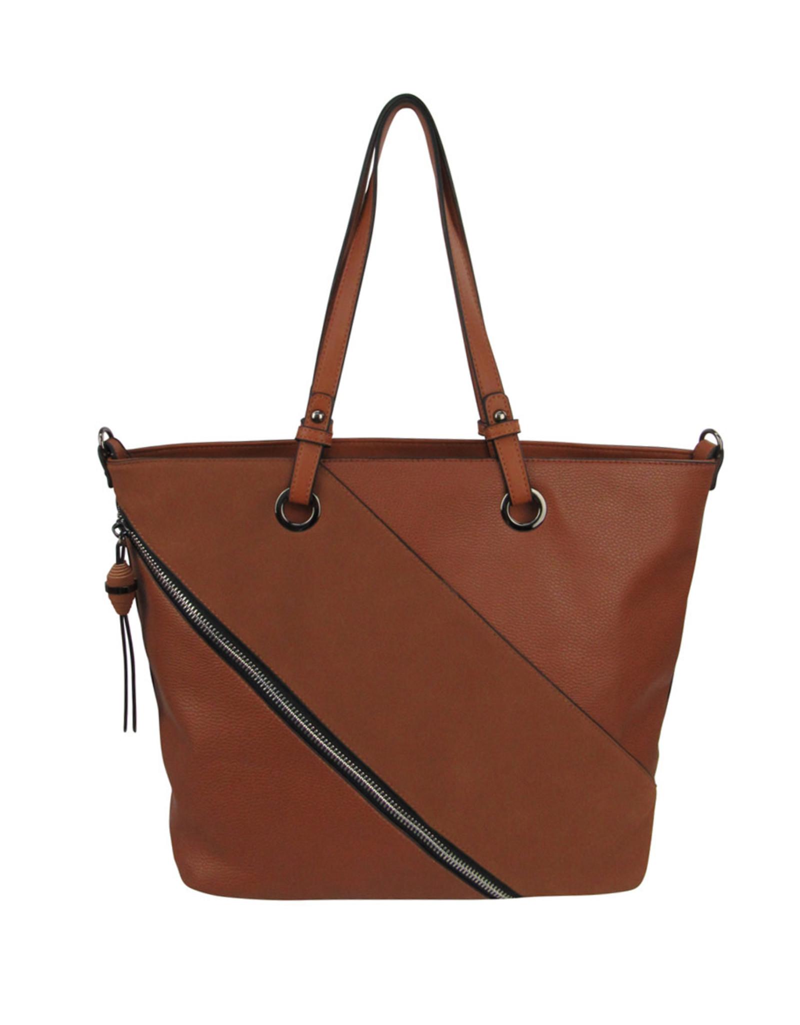 Brown Faux Zipper Tote Patch Shoulder Bag