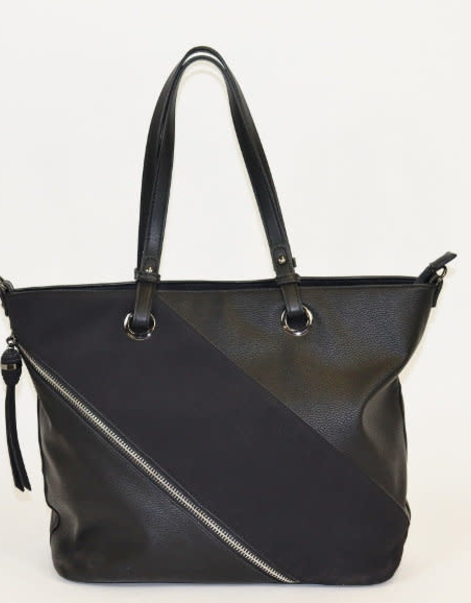 Black Faux Zipper Tote Patch Shoulder Bag