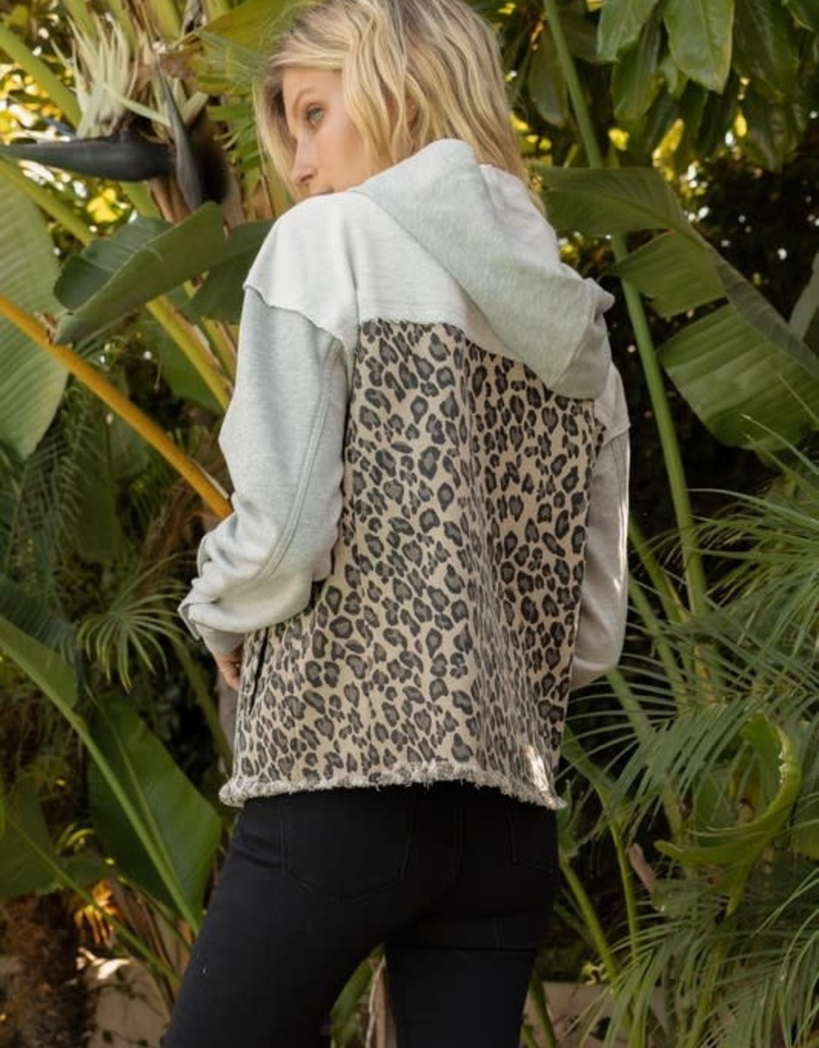 - Leopard Print w/ French Terry Hood Jacket