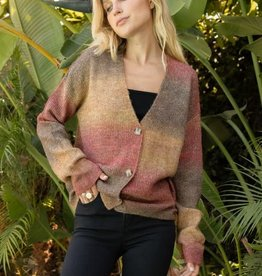- Red Multi Ombre V-Neck Crop Cardigan