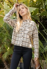 - Taupe  Soft Feel Plaid Crop Oversize Shirt
