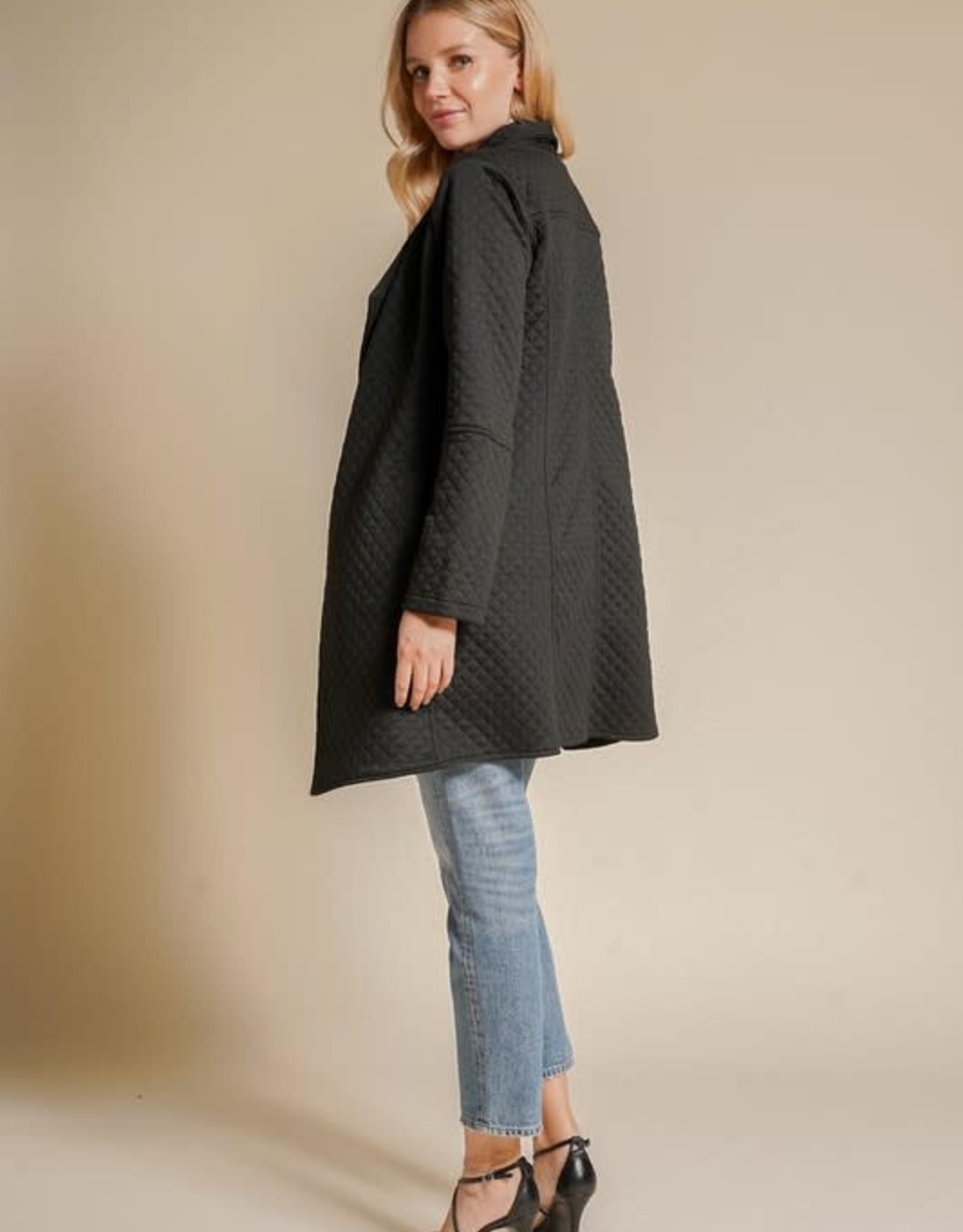 - Black Drape Neck Quilted Coat