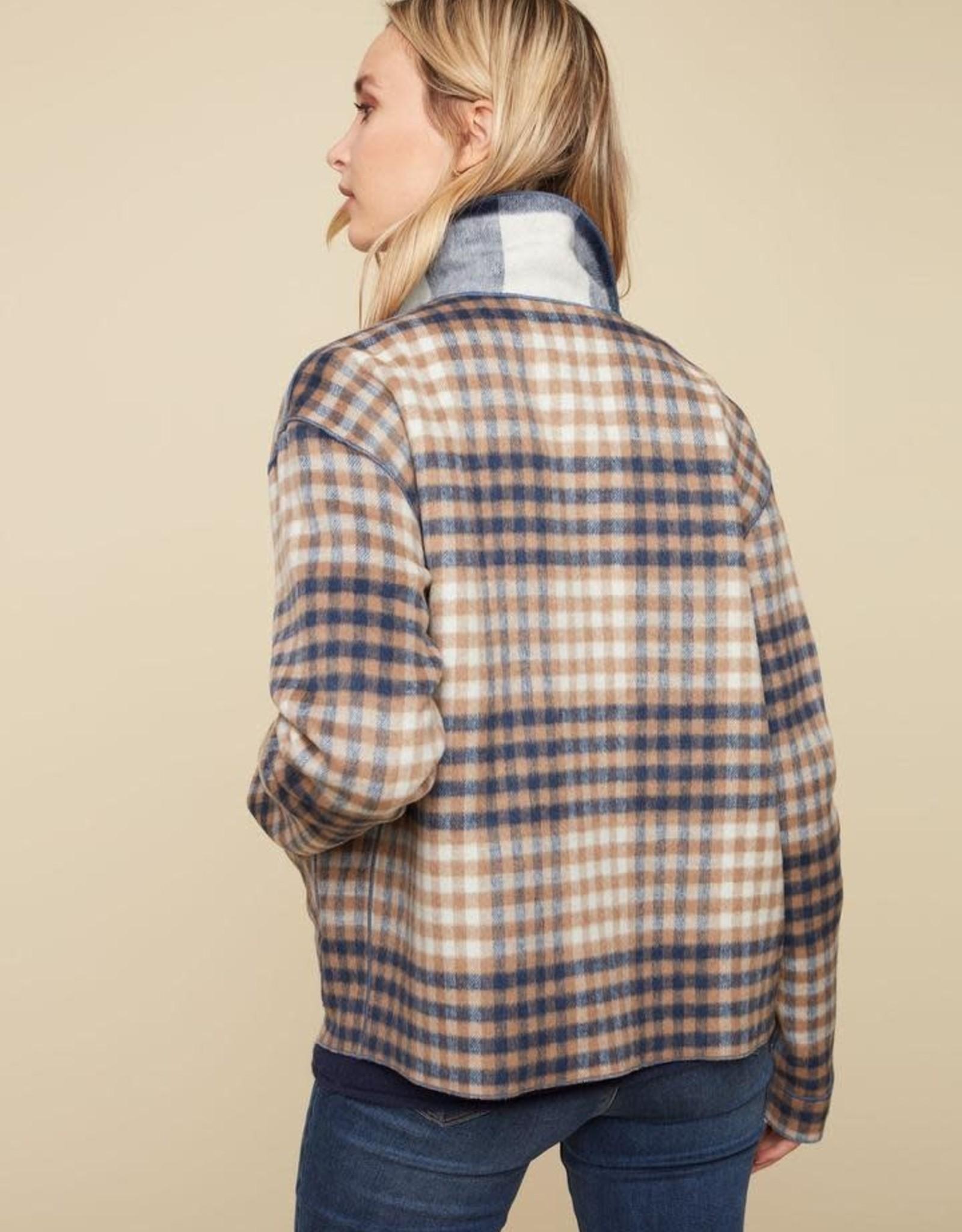 - Navy Plaid Reversible Short Jacket