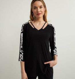 Joseph Ribkoff Black V-Neck w/BW Print Sleeve