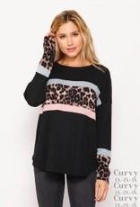 - Black Animal Print Color Block Long Sleeve