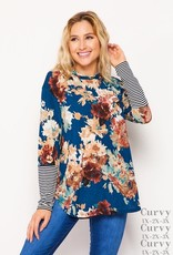 - Teal/Brown Floral Print Long Sleeve w/Hood
