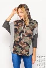 - Olive/Brown Camo Print 3/4 Sleeve w/Hood