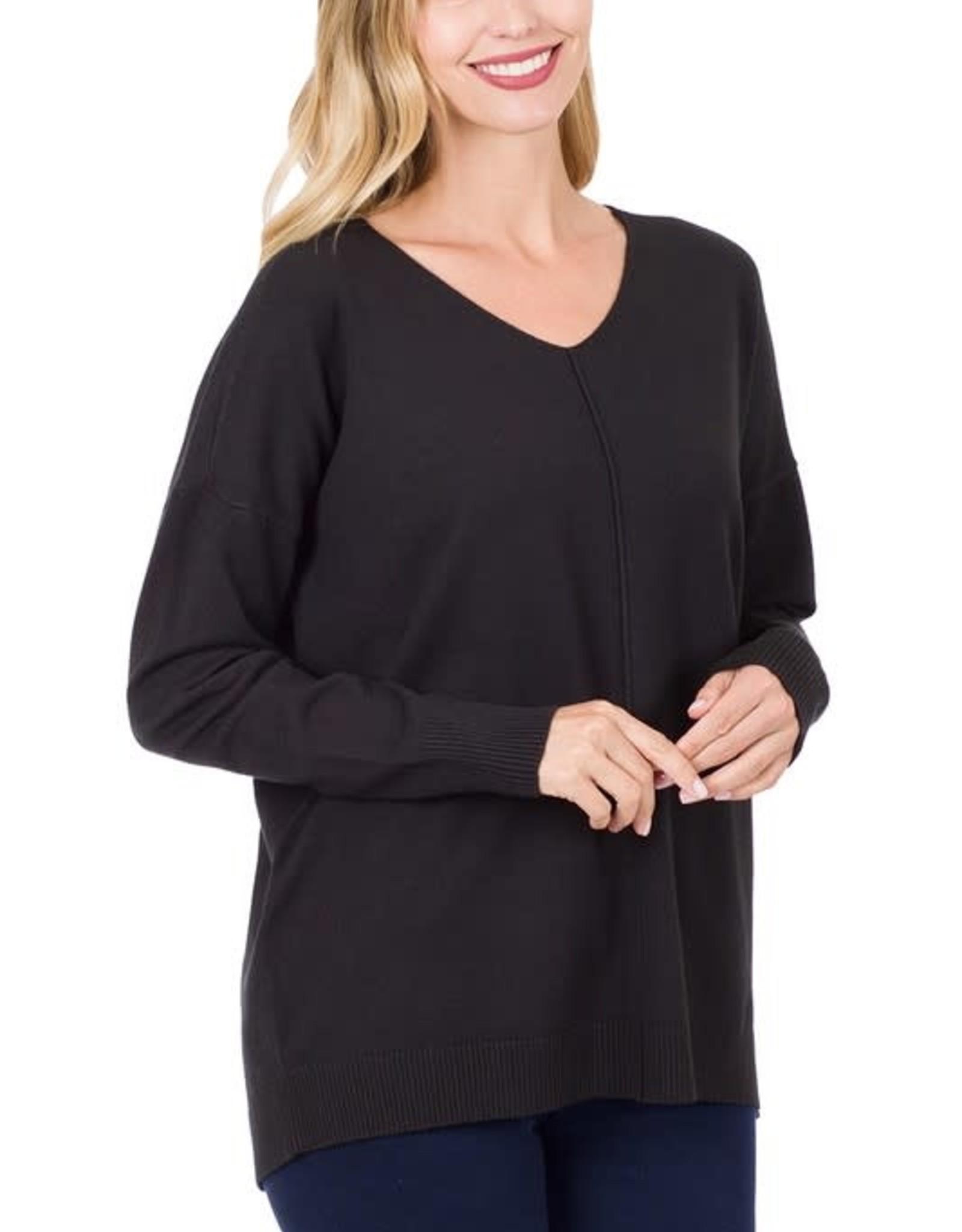 - Black V-Neck Sweater w/ Center Seam