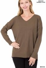 - Mocha V-Neck Sweater w/ Center Seam