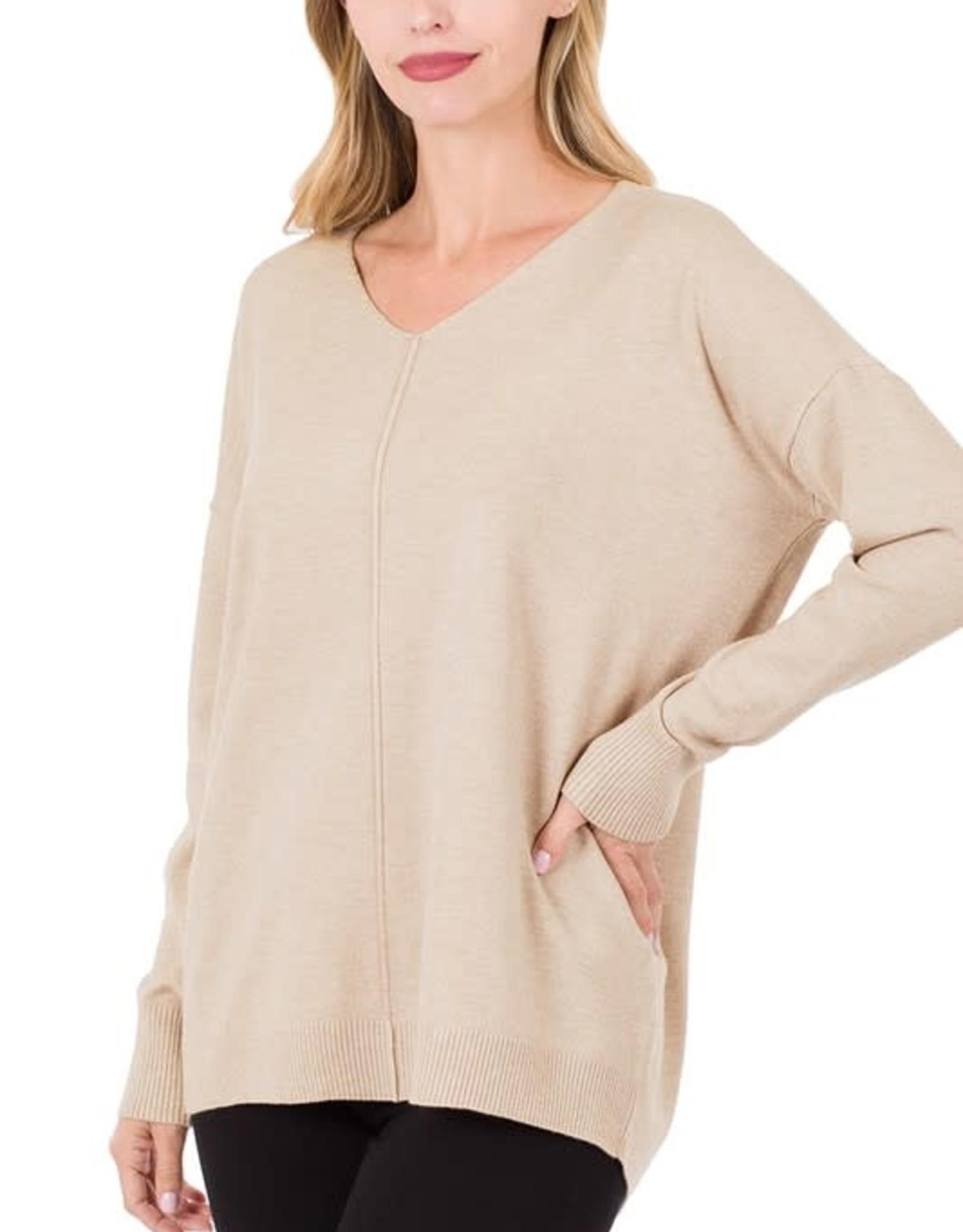 - Sand Beige V-Neck Sweater w/ Center Seam