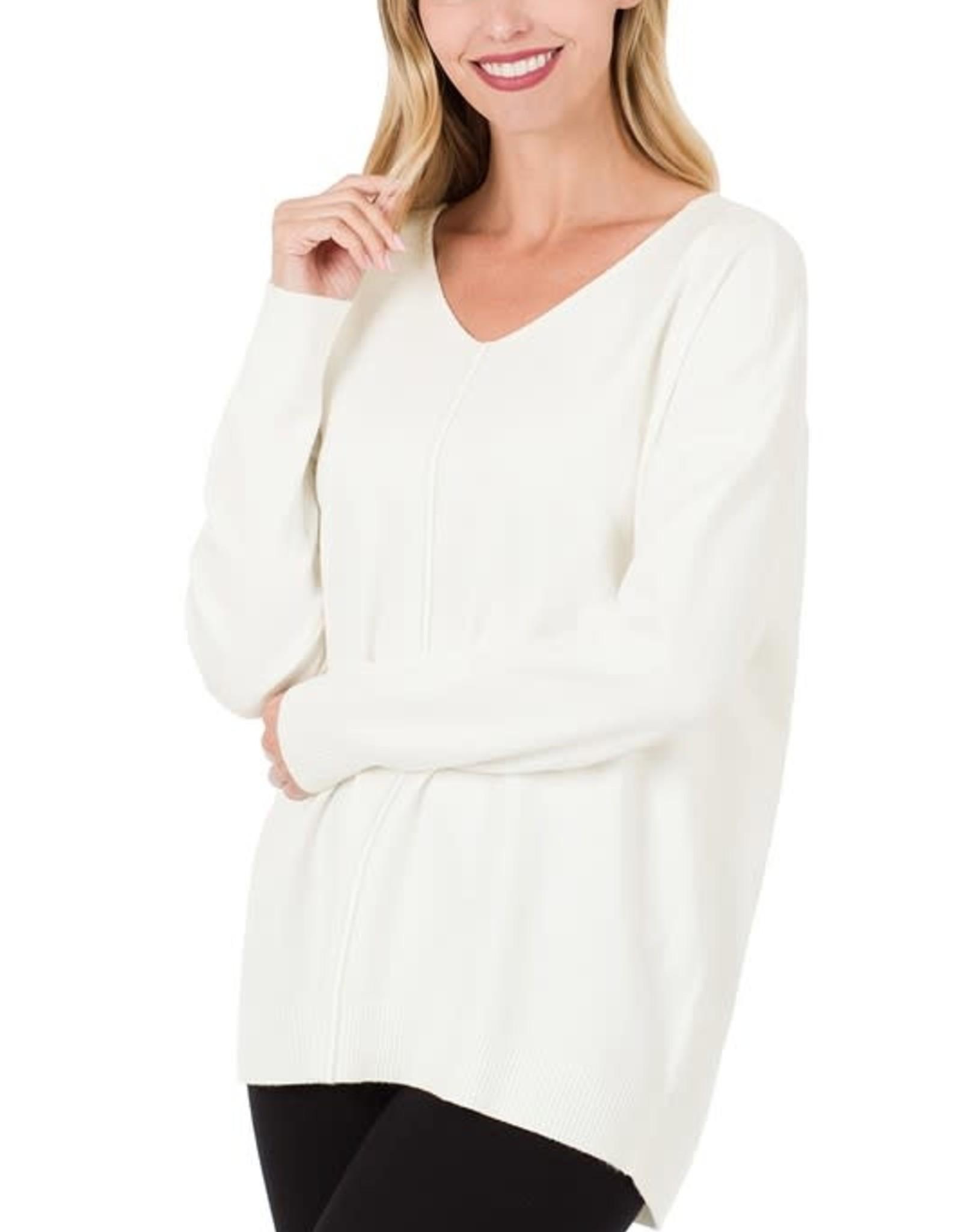 - Ivory V-Neck Sweater w/ Center Seam