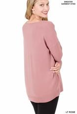 - Light Rose V-Neck Sweater w/ Center Seam