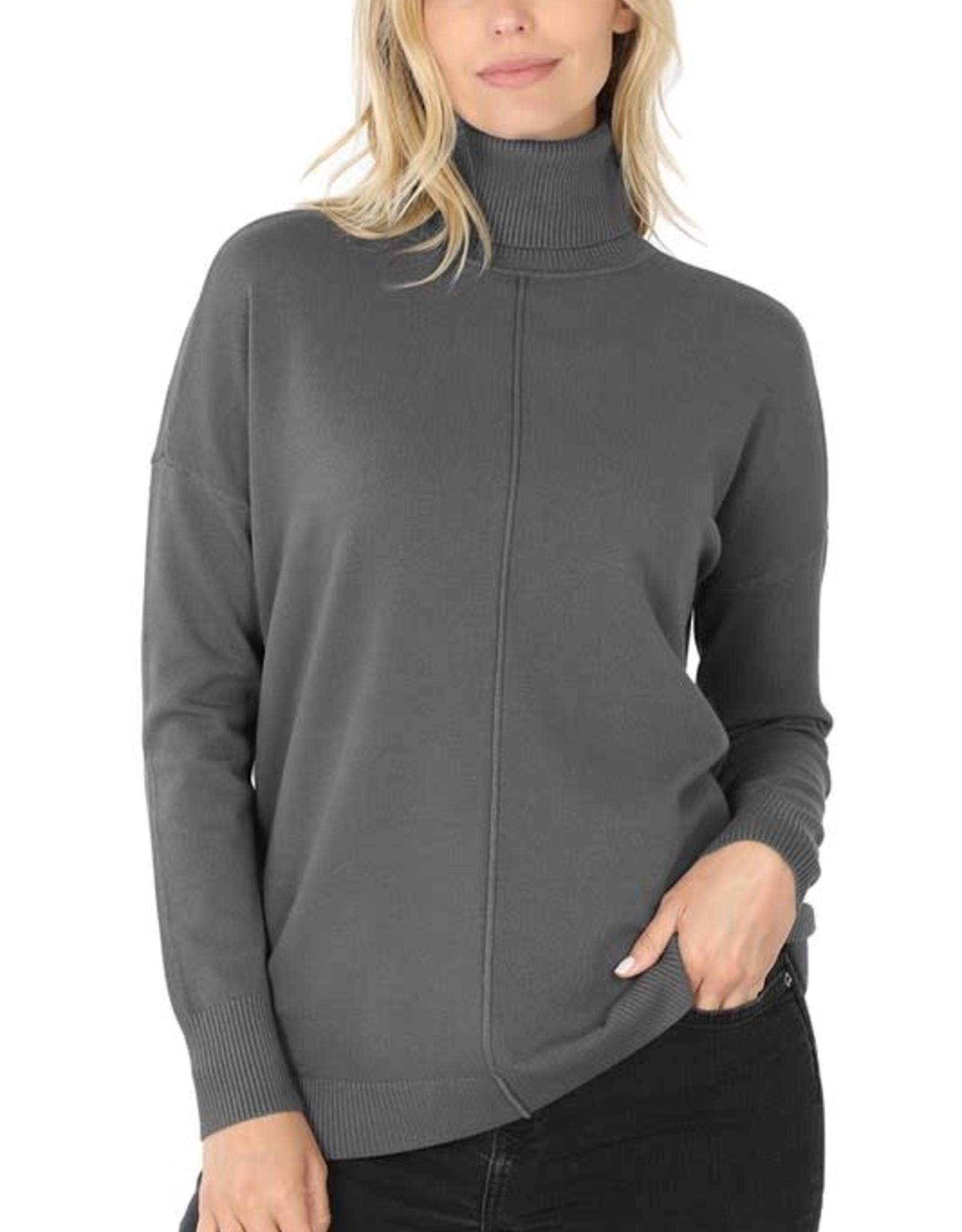 - Ash Grey Hi-Low Center Seam Turtleneck Sweater