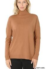 - Deep Camel Hi-Low Center Seam Turtleneck Sweater