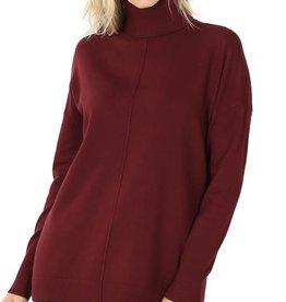 - Dark Burgundy Hi-Low Center Seam Turtleneck Sweater