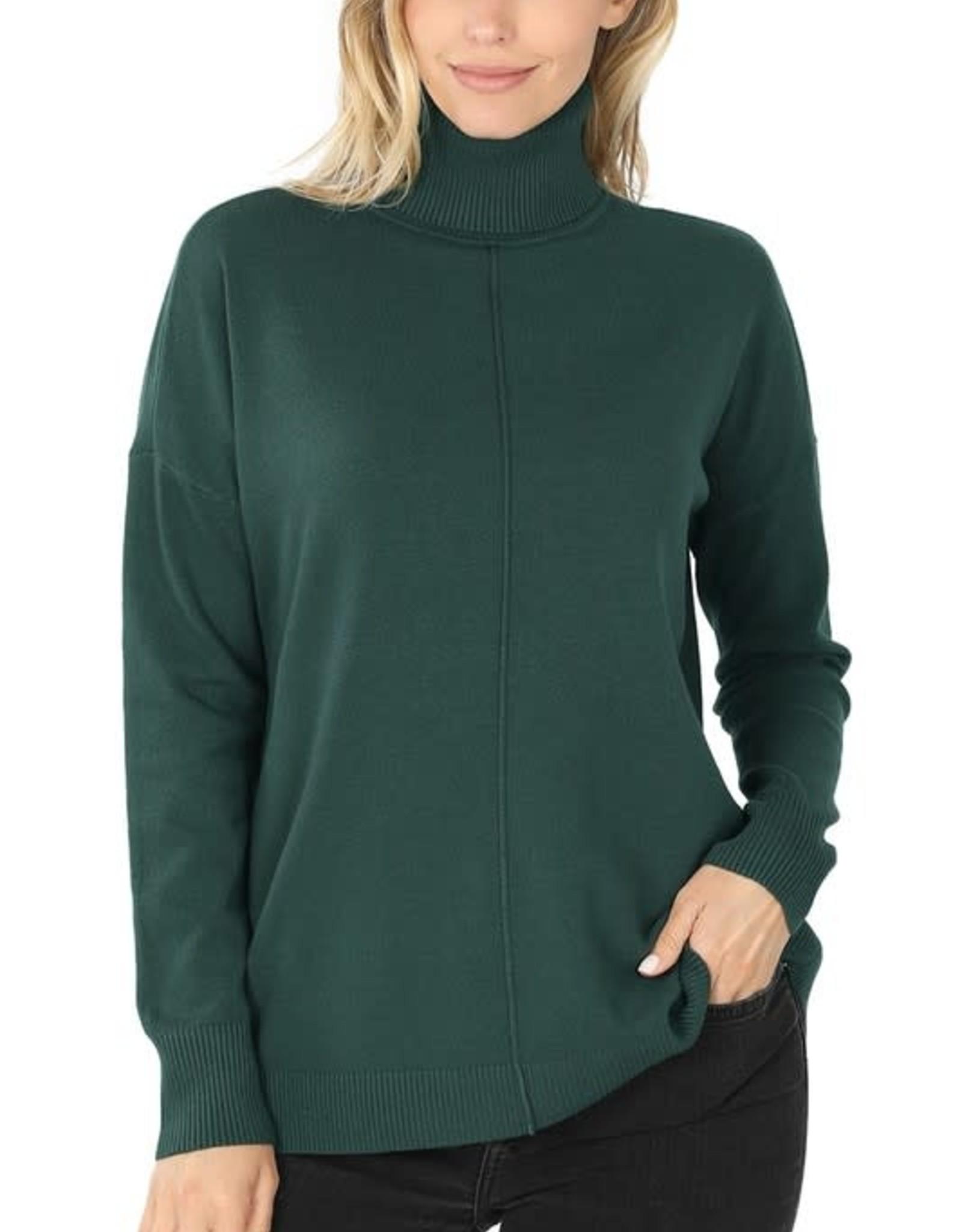 - Hunter Green Hi-Low Center Seam Turtleneck Sweater