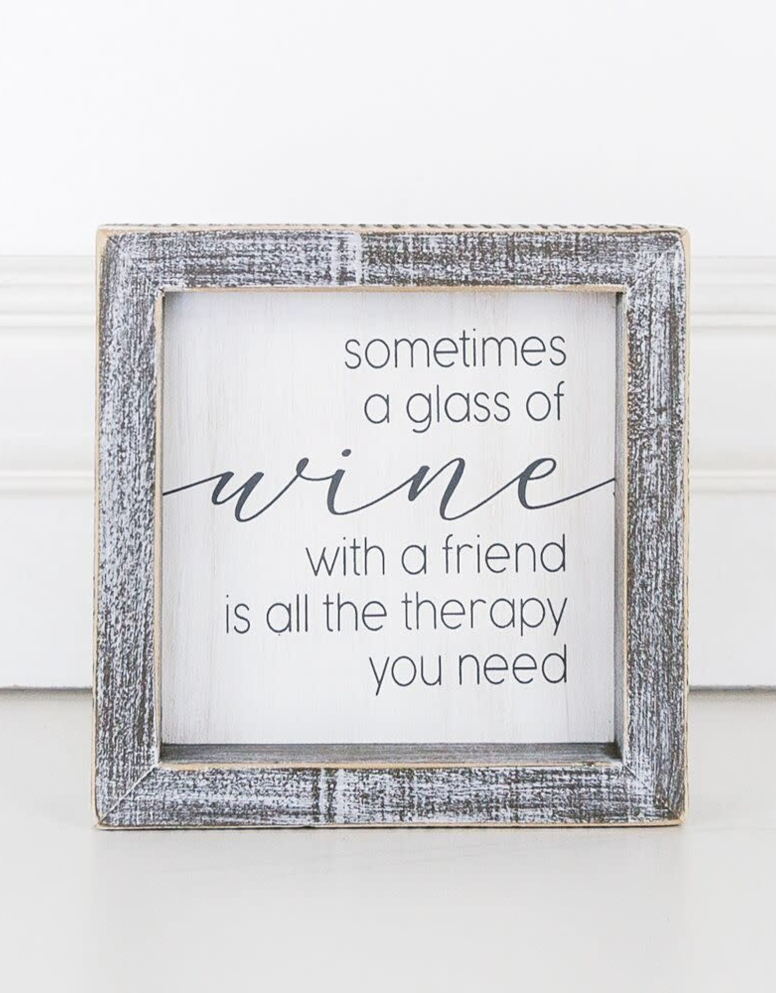 - Wine Therapy Wood Framed Sign 5x5x1.5
