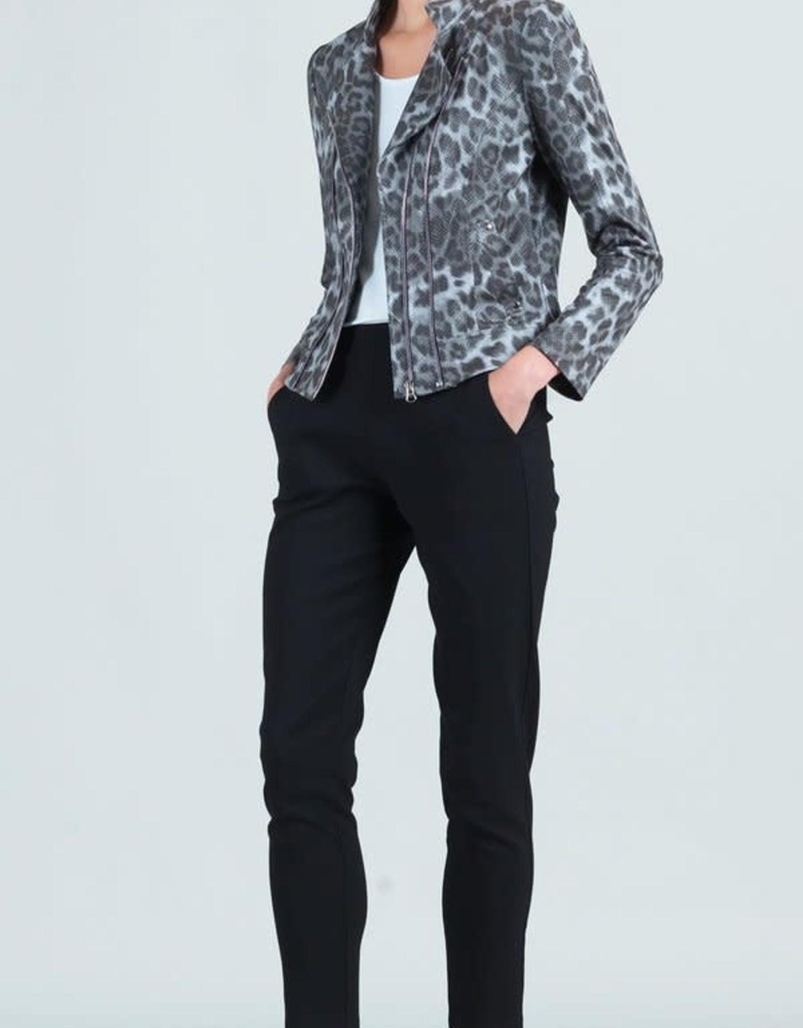- Charcoal Cheetah Double Zip Liquid Leather Jacket