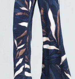 - Navy/Ivory Palm Leaf Palazzo Pant