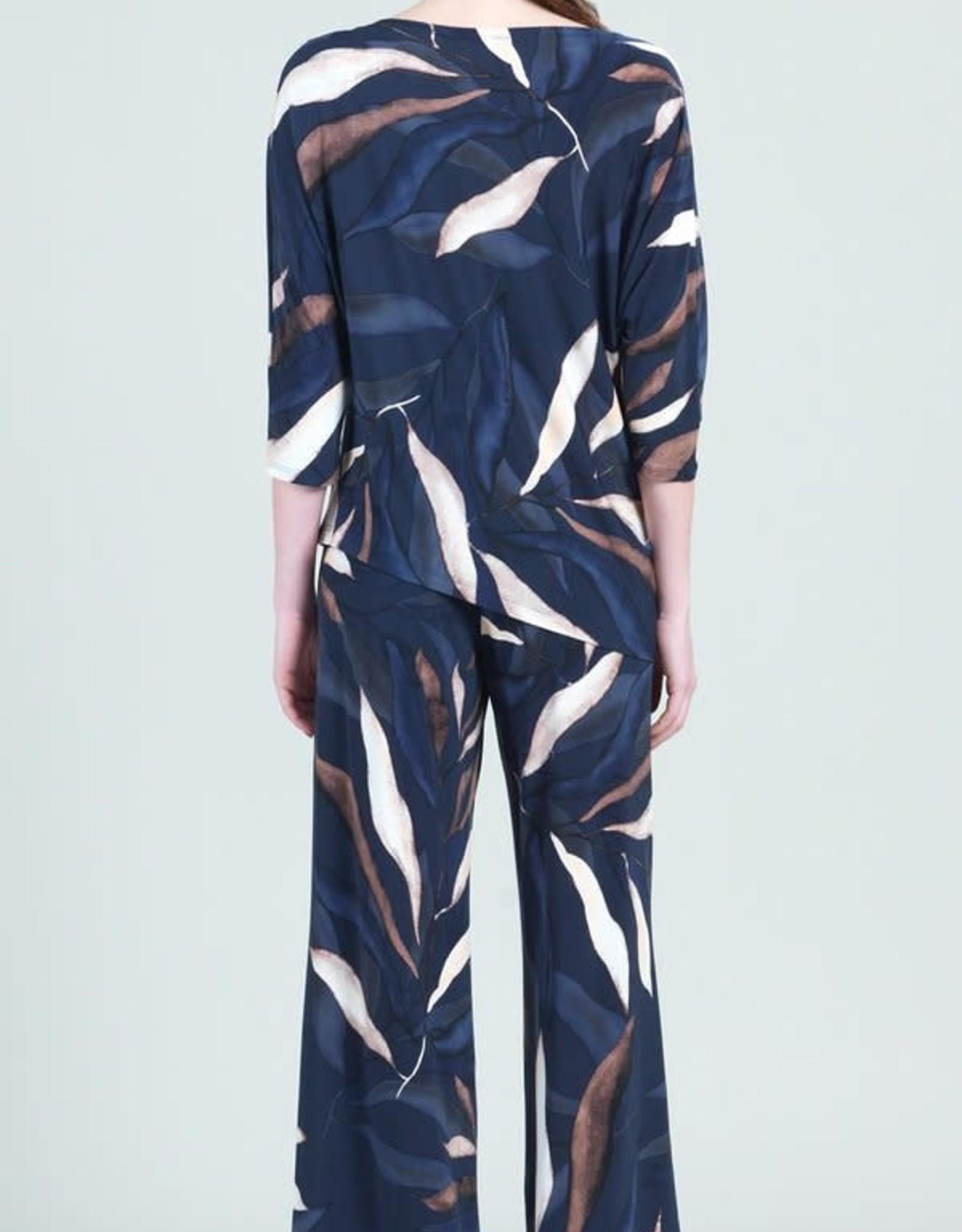 - Navy/Ivory Palm Leaves Angle Hem Top