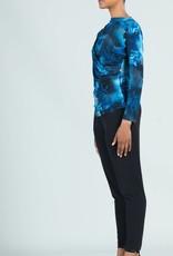 - Deep Sea Blue Ruched Drape Top