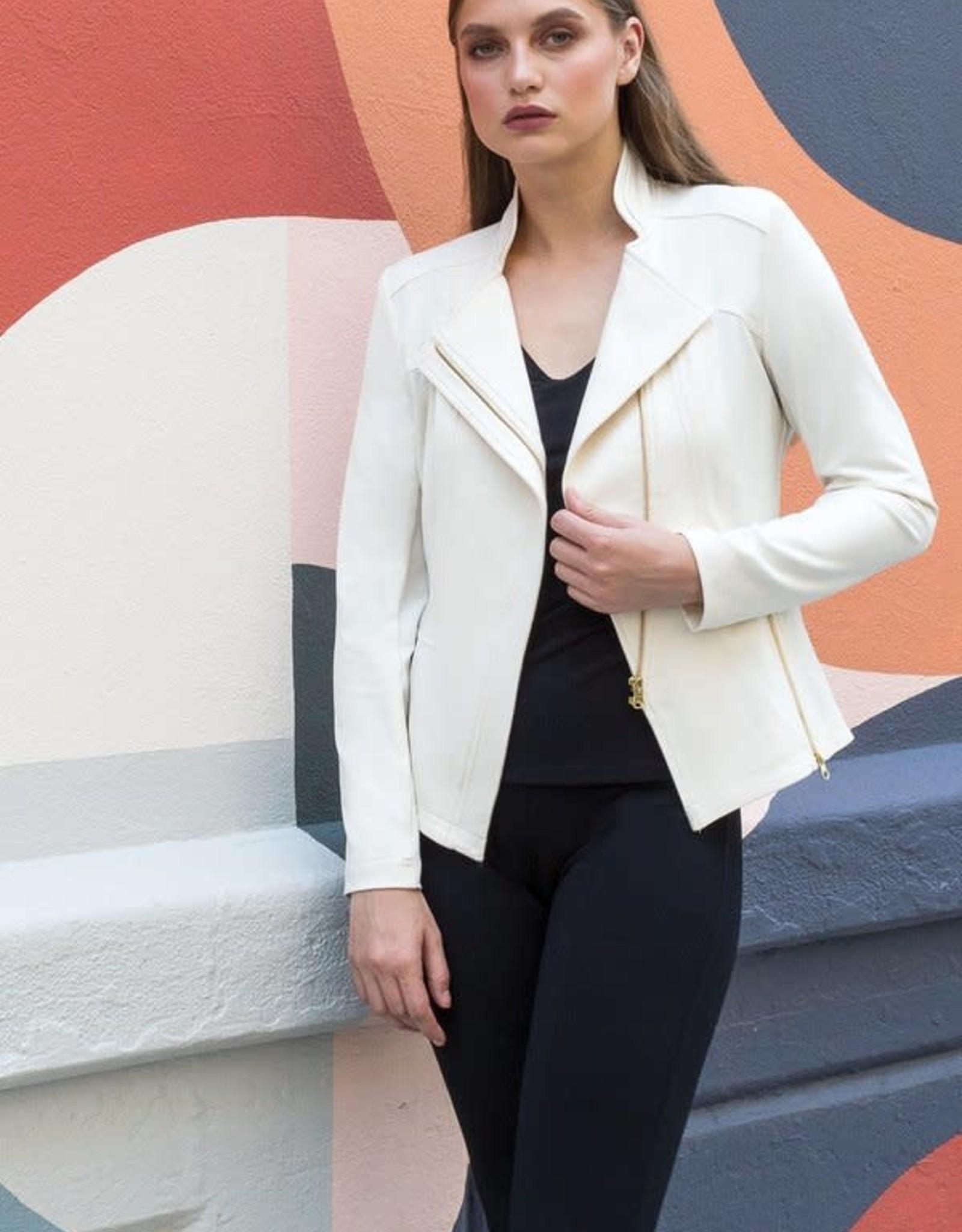 - Ivory Liquid Leather Jacket